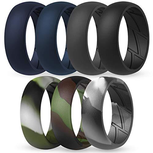 ThunderFit Silicone Wedding Rings for Men - 7 Rings (Green Camo, Grey Camo, Camo, Dark Grey, Black, Dark Teal, Navy Blue, 9.5 - 10 (19.8mm))