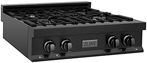 ZLINE 30 in. Porcelain Rangetop in Black Stainless with 4 Gas Burners (RTB-30)