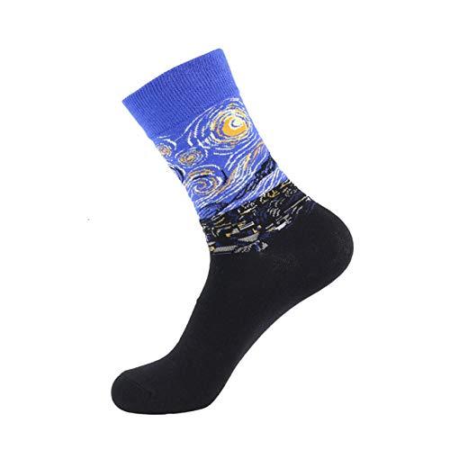 Preisvergleich Produktbild Lustige Socken, Herbst Winter Night Sky Schnittplan Gedruckt Fashion Crew Socken,  Atmungsaktiv,  Antibakteriell Athletische Rohner Socken Outdoor Warme Strick Aus Baumwolle Socksnight Sky(3pcs)