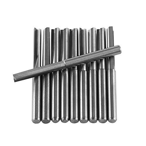 Akozon 1/8 pulgada Fresa Herramientas de corte de fresado CNC molino de extremo doble flautas rectas conjunto de 10pcs Doble Filo Molino de Extremo