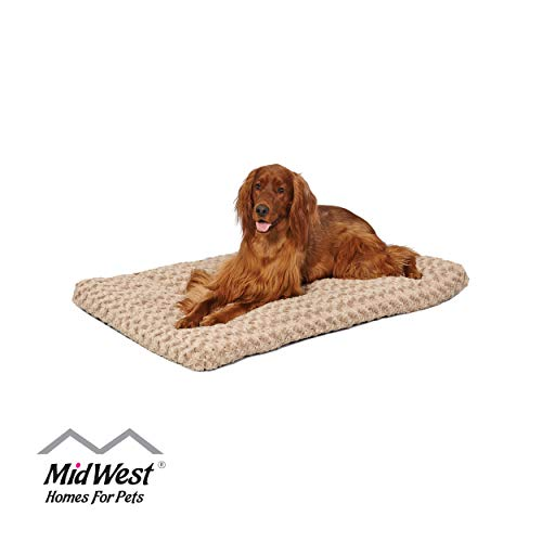 Plush Dog Bed | Ombré Swirl Dog Bed & Cat Bed | Mocha 40L x 27W x 2.5H - Inches for Large Dog Breeds