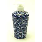 Polish Pottery - Liquid Soap Dispenser - Blue on Blue - The Polish Pottery Outlet