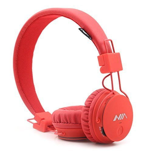 Kids Wireless Bluetooth 4.2 Headphones, GranVela X2 Lightweight Retro Foldable Multifunction Headphones with FM Radio, TF Card Mp3 Player and Microphone,3.5mm Jack (Red)