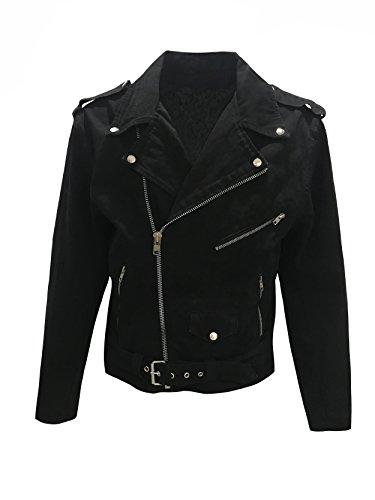 Men's Classic Motorcycle Biker Jacket Black Denim Jean Jacket (XL)