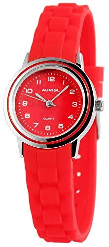 Auriol - Reloj de Pulsera para niños (analógico, Metal, Silicona, Cuarzo), Color Rojo