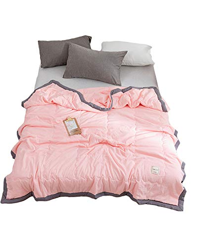 GuoCu Pure Color Summer Thin Quilt Duvet Quilt Lightweight Microfibre Bedspread Washed Cotton Air-conditioning Quilt Cozy Throw Blanket Nap Blanket Soft Sofa Couch Throw Bed Blanket Pink 200 * 230CM