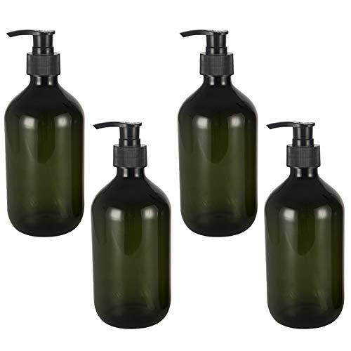 cailiya 4PCS Dispensador de Jabón de Plástico para Baño, Cocina, Botella Vacía para Desinfectante de Manos, Loción, Champú, Gel de Ducha, Plástico, Verde Oscuro, 500 ml