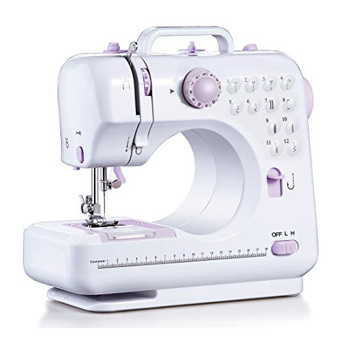 Signstek Máquina de coser portátil Máquina de coser 12 puntadas 2 velocidades Mini máquina de coser Overlocker Máquina de bordar Máquinas de coser para principiantes Inicio LED