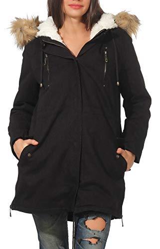 malito dames parka met capuchon | Winterjas met kunstbont | gevoerde mantel | Jacket - Trenchcoat 81099