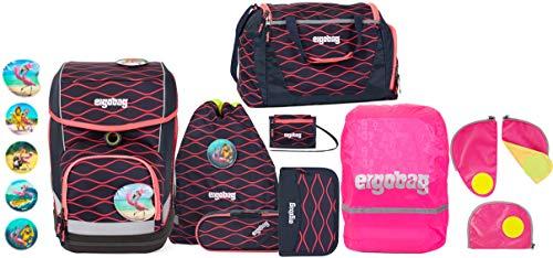 ergobag cubo LUMI-Edition WellenreitBär Schulranzen-Set 5tlg. + Sporttasche + Brustbeutel + Sicherheitsset & Regencape Pink