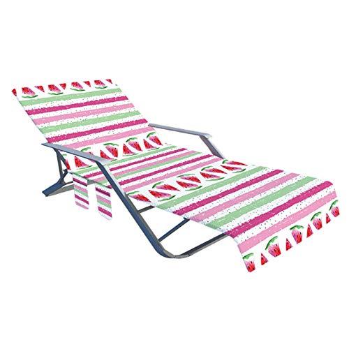 Betteros Funda de silla de playa, toalla de microfibra para silla de piscina, cubierta de reclinación, tumbona, tumbona, jardín, tumbona, con bolsillos laterales