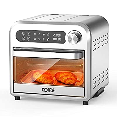 8-In-1 Compact Stainless Steel Digital Air Fryer Toaster Oven, Dehydrator/Bake/Broil/Roast Function, 1250W&60 Min Timer, 11QT Small Countertop Convection Oven with Touch Panel, 4 Accessories &Recipe
