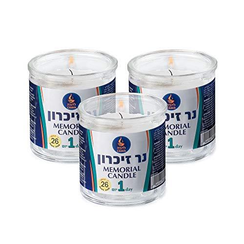 Tribello 1 Day Yahrzeit Candle - Memorial Candle for Ner Neshama, Yizkor, and Yom Kippur   Long Lasting 26 Hour Yahrzeit Memorial Candles in Glass Jar (3 Pack)