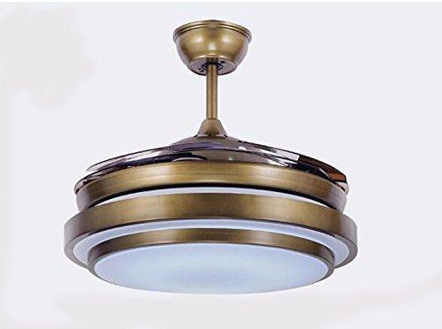 Ldoons plafondventilator, dimbaar, elegant, eenvoudig, wit, 90 cm, brons, plafondlamp, restaurant, binnenverlichting