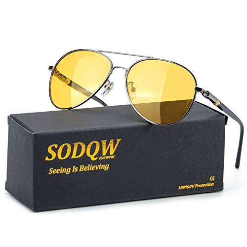 SODQW HD Polarized Night-Vision Glasses, Classic Aviator Night-Driving Glasses, Pilot Metal Frame for Men Women Night-Driving (Gun Frame / Yellow Night-Driving Glasses)