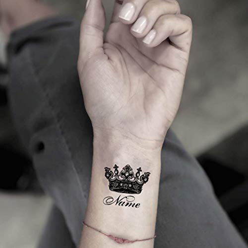 Custom Name with Crown Temporary Fake Tattoo Sticker (Set of 2) - www.ohmytat.com