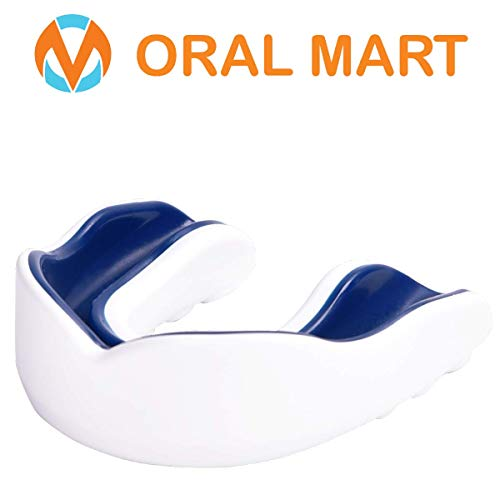 Oral Mart White/Navy Blue Adult Mouth Guard - Adult Sports Mouth Guard for Karate, Boxing, Sparring, MMA, Football, Field Hockey, BJJ, Muay Thai,Soccer, Rugby, Martial Arts
