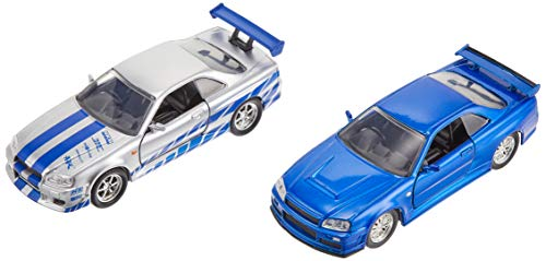 Fast & Furious Brian's Nissan Skyline GT-R R34 Silver & Nissan GT-R R34 Blue 1:32 Die - cast Car, Toys for Kids and Adults