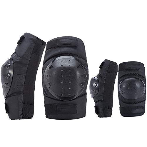 DOILE Fahrrad-Schutzausrüstung, PE-Schutzschale, Anti-Sturz-Knieschoner und Ellbogenschoner, kurzer vierteiliger Anzug, schwarz, gute Luftdurchlässigkeit (L,Schwarz)