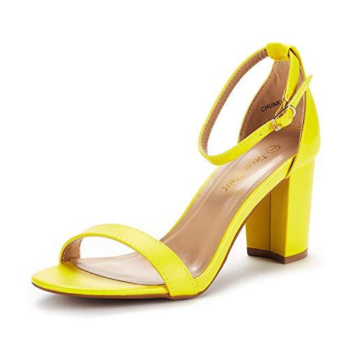 DREAM PAIRS Women's Chunk Yellow Pu Low Heel Pump Sandals Size 8.5 M US