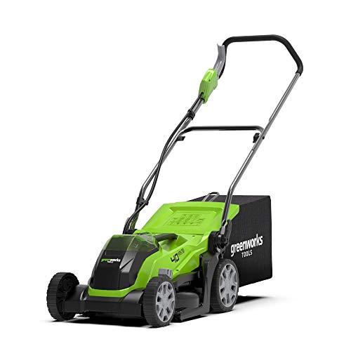 Greenworks Tools Cordless Lawn Mower G40LM35K2(Li-Ion 40 V 35 cm Cutting Width Up to 500 sq m 2-in-1...