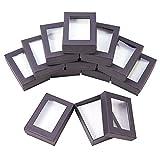 NBEADS 10 Piezas Joyero con Ventana de Plástico, Negro Caja de Regalo de Cartón para Embalaje de Anillos y Pendientes de Collares DIY, 9 x 6,5 x 2,8 cm