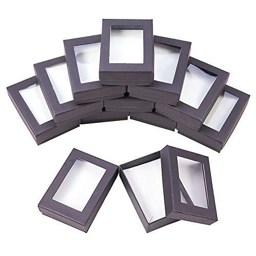 nbeads Schmuckkästchen Aus Karton, Für Halsketten, Ohrringe und Ringe, Schwarz, 9 × 6,5 × 2,8 cm, 10 Stück