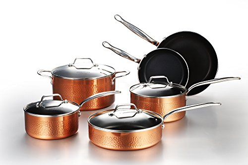 COOKSMARK 10 Piece Hammered Copper Cookware Set with...