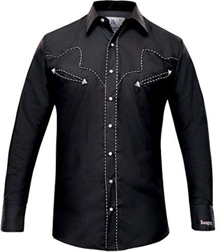 Modestone Men's Embroidered Long Sleeved Fitted Western Camicia Cowboy Dotted Piping Black S
