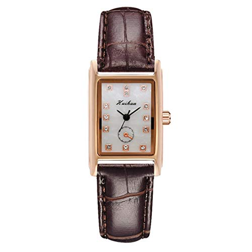 Reloj de Cuarzo de Estilo Europeo Americano Retro de Cuero Cuadrado pequeño para Mujer (marrón)