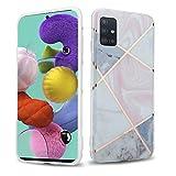 Cadorabo Funda para Samsung Galaxy A51 5G en Mármol Blanco Gris Rosa No.10 - Cubierta Proteccíon de Silicona TPU en Motivo Mosaico - Gel Case Cover Carcasa Ligera