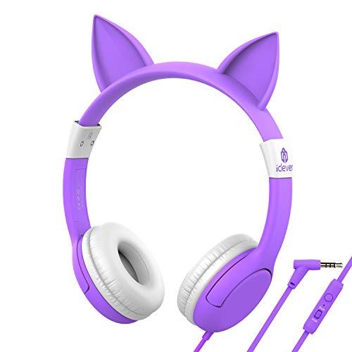iClever Boostcare Kids Headphones with Microphone, 85/94dB Volume Control, Food Grade Cat Ear Headphones for Kids Boys Girls, Hello Kitty Childrens Headphones for Online School/Travel/Tablet, Purple