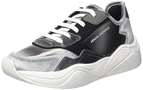 Armani Exchange Damen Cher Chunky Sneaker, Grey+Antracite+Grey, 35 EU