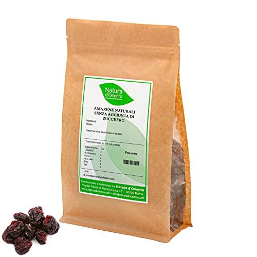 NATURA D'ORIENTE Amarene deshidratado sin azúcar, ideal para aperitivos y postres, fruta seca, sin conservantes ni colorantes (1 kg)