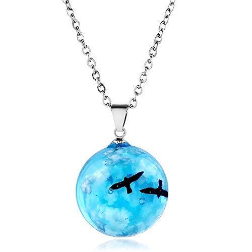 letaowl Collar de los hombres creativo transparente luminoso resina redonda bola colgante collar mujeres hombres moda azul cielo nubes aves collar joyería style2