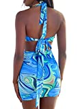 Womens Sexy Halter Tie Dye Two Pieces Sets ,Y2K Fashion Outfits Sleeveless Tops and Short Skirt (Multicolor green, Medium)