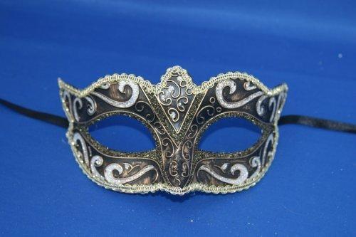 Vénitien Masque de Mascarade Partie des Yeux Masque Noir, Argent, Bronze et Or