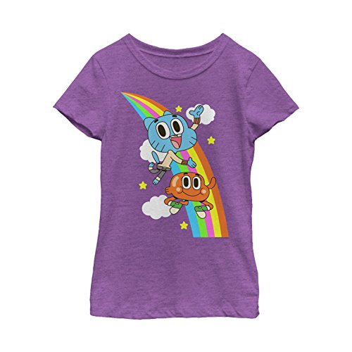 Price comparison product image Girl's The Amazing World of Gumball Rainbow Brothers T-Shirt - Purple Berry - X Large