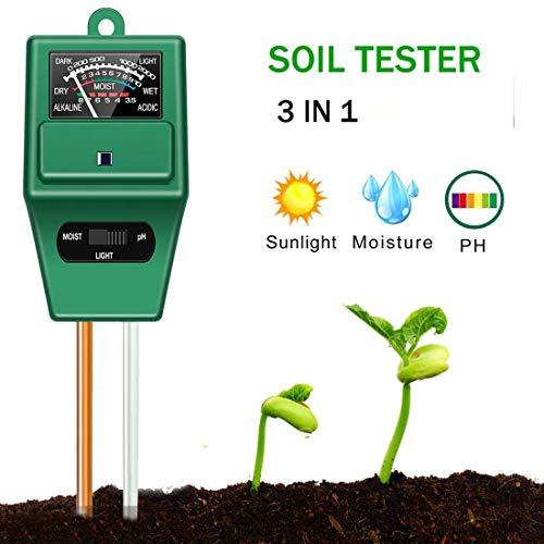 Zhong pH-Tester für Boden – 3-in-1 Messung Boden pH-Wert, Licht und Feuchtigkeit, ideal für Bonsai-Baum, Gartenpflege, Rasen, Innen- und Außenbereich