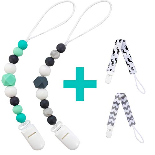Pacifier Clip for Baby Boys Girls, 4 Pack Paci Clips Holder Silicone Teething Beads Teether Toys Soothie Binky Clips (Green, Grey)
