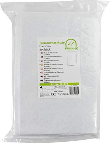 Medi-Inn Einmal-Waschhandschuhe ECONOMY | 50 Stück | Einmalwaschlappen zur schnellen & gründlichen Körper- & Intimpflege | zur Babypflege