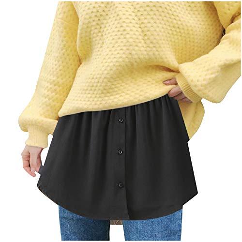 minjiSF Falda corta para mujer de un solo color, verstil y con corte medio, elstica, para jersey y suter a juego. Negro XXXL