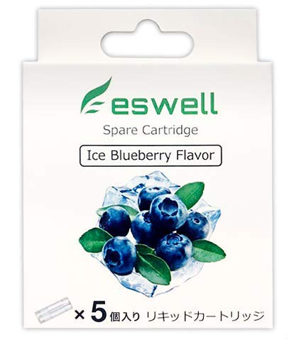 プルームテックプラス 互換 eswell Pen Vape Kit カートリッジ 国産 5本入り 電子タバコ リキッド 使い捨てタイプ( アイス ブルーベリー)