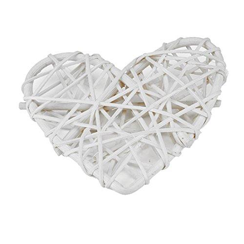joyliveCY 5pcs de ratán natural corazón fiesta de cumpleaños Decoración de la boda, ratán, Blanco, 16 cm