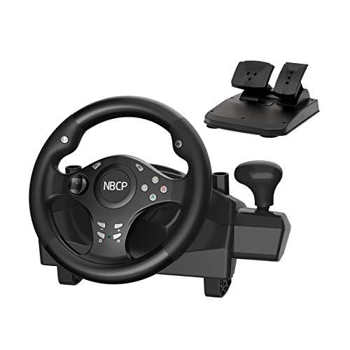 Volante da gioco Volante a 270 gradi di forza motrice volante per giochi di corse PC / Nintendo Switch / PS3 / Android con freno acceleratore a pedali (colore nero)