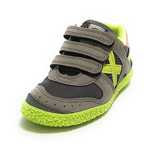 Munich ZS21MU14 1511 - Zapatillas para niño con correa Mini Goal de piel sintética y tela gris, multicolor, 32 EU