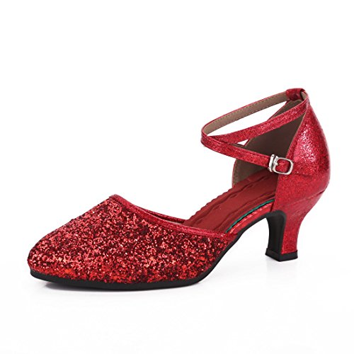 DorkasDE Damen Mädchen Tanzschuhe Latein Ballroom Tanz Schuhe Gummi Sohle mit 5.5cm Absatz