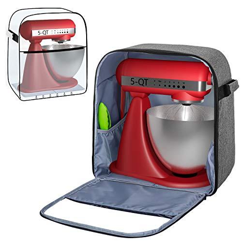 Yarwo Housse de Protection pour KitchenAid Robot, Housse pour Batteur sur Socle avec Planche pour Soutenir Le Fond, Convient pour Le Batteur sur Socle de 4,3 litres et Tous Les 4,8 litres, Gris
