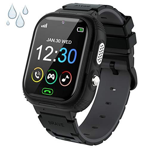 PTHTECHUS Smartwatch Niños, Reloj Teléfono para Niña y Niño Impermeable Pantalla Táctil con Música Vídeo 14 Juegos SOS Linterna Cámara Alarma, Reloj Inteligente para Niños Regalo (EU-Y28-Black)