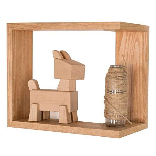 LQ-Wall shelf Wandregal, Europäisches Eckregal Aus Massivem Holz, Geeignet Für Moderne Minimalistische Wohnzimmer Ecke Ecke Kreative Wandlagerregal (Color : Wood Color, Size : 36x20x30CM)
